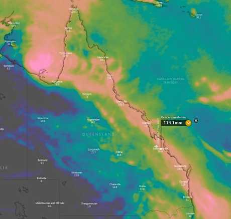 LONG RANGE: The ECMWF's 10 day rainfall forecast predicts Rockhampton to gather over 100mm.