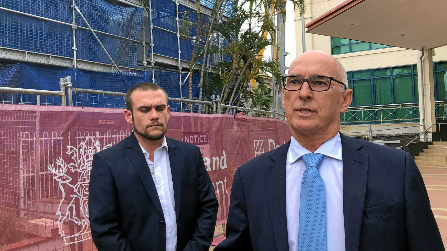 Barrister Paul Smart with Calliope man Jamie John Blake address the media after Blake was sentenced for giving his son cannabis oil to treat his severe autism.