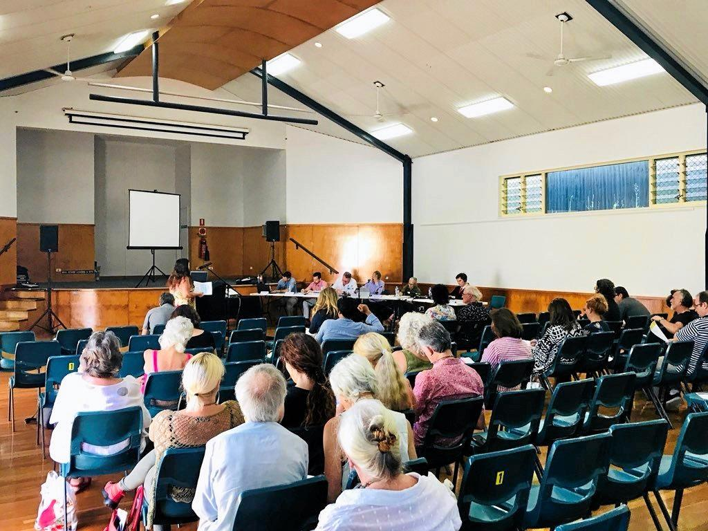 COMMUNITY: The IPC panel that will decide if North Byron Parklands is allowed to host music festivals met with the community in Ocean Shores this week.
