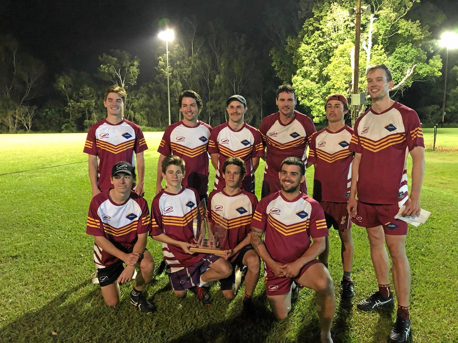 Oaka Construction defeated Rebels 10-2 in the Gladstone Touch Association 2018 Men's Division 1 grand final.