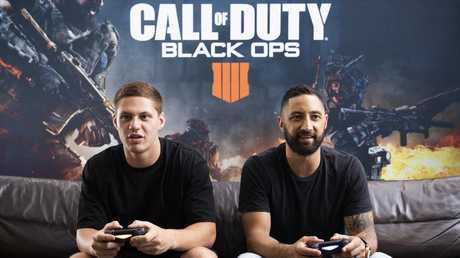 Kalyn Ponga and Benji Marshall play Call of Duty: Black Ops 4.