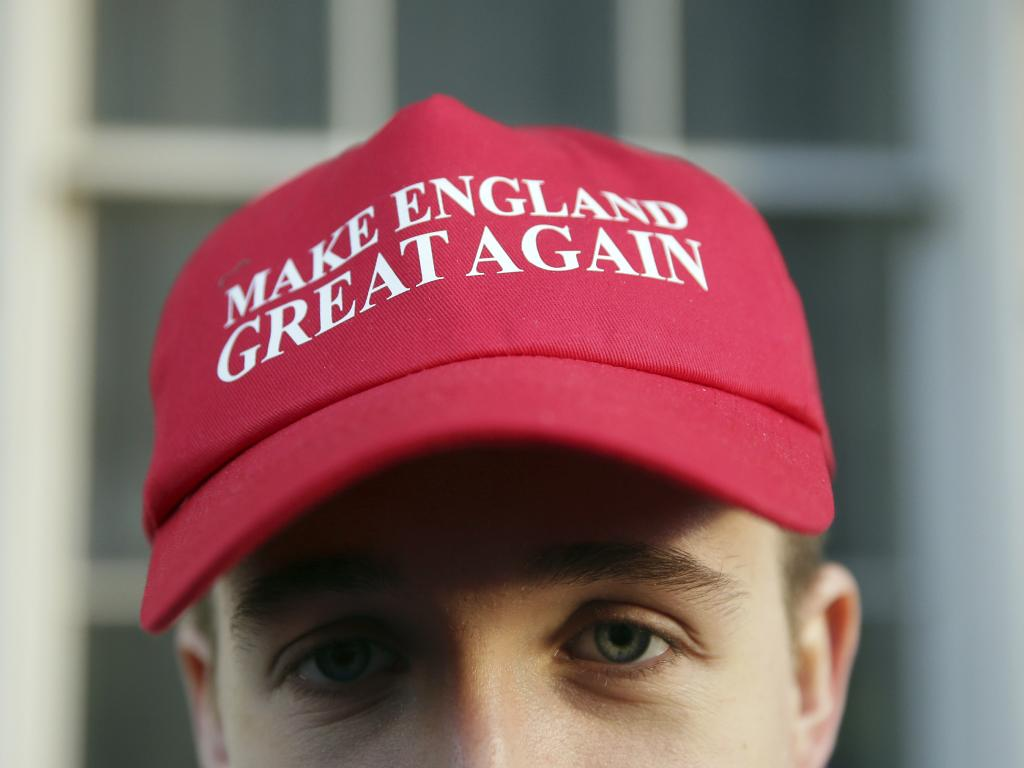 "A man wears a ""Make England Great Again"" hat at a ""Brexit Betrayal Rally"" in London. Picture: AP"