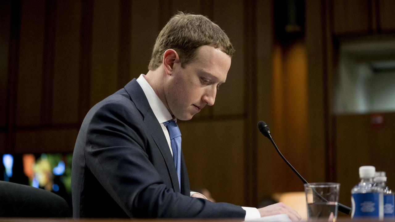 Facebook CEO Mark Zuckerberg testifying before a joint hearing of the Commerce and Judiciary Committees in Washington about the use of Facebook data to target American voters in the 2016 election. Picture: AP