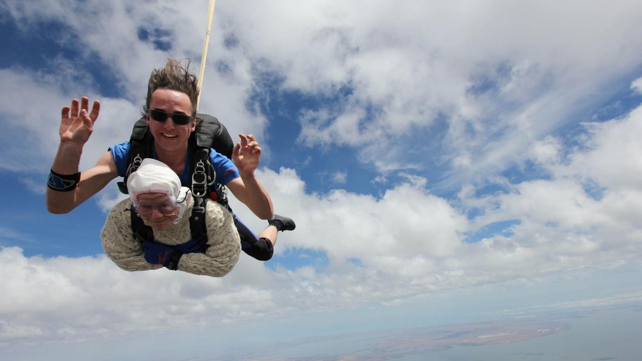 It was a jump from 14,000 feet. Picture: SA Skydiving / Bryce Sellick & Matt Teager