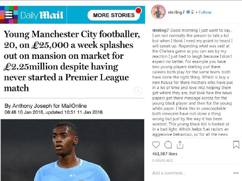 The headline on the story about Tosin Adarabioyo.