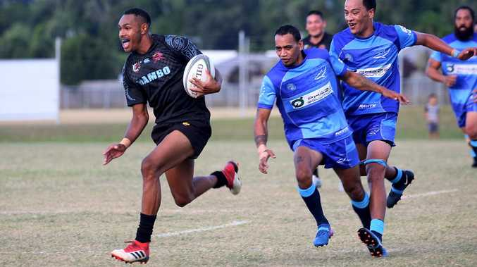 Hamiso Tabuai-Fidow breaks through to score a try for the Southside Crusaders. Picture: Stewart McLean