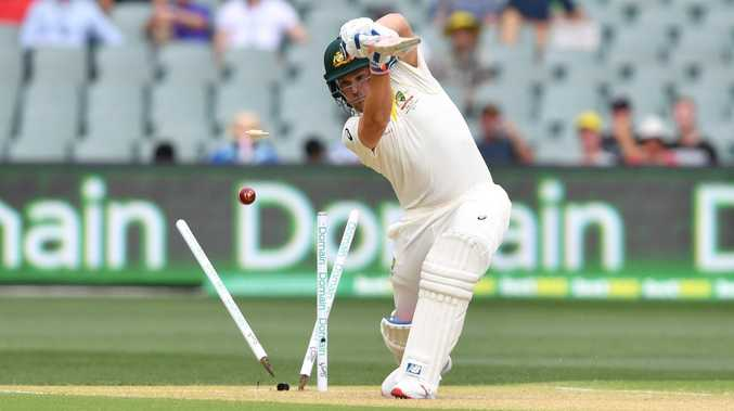 Aaron Finch has his castle rattled in the first innings. Picture: AAP
