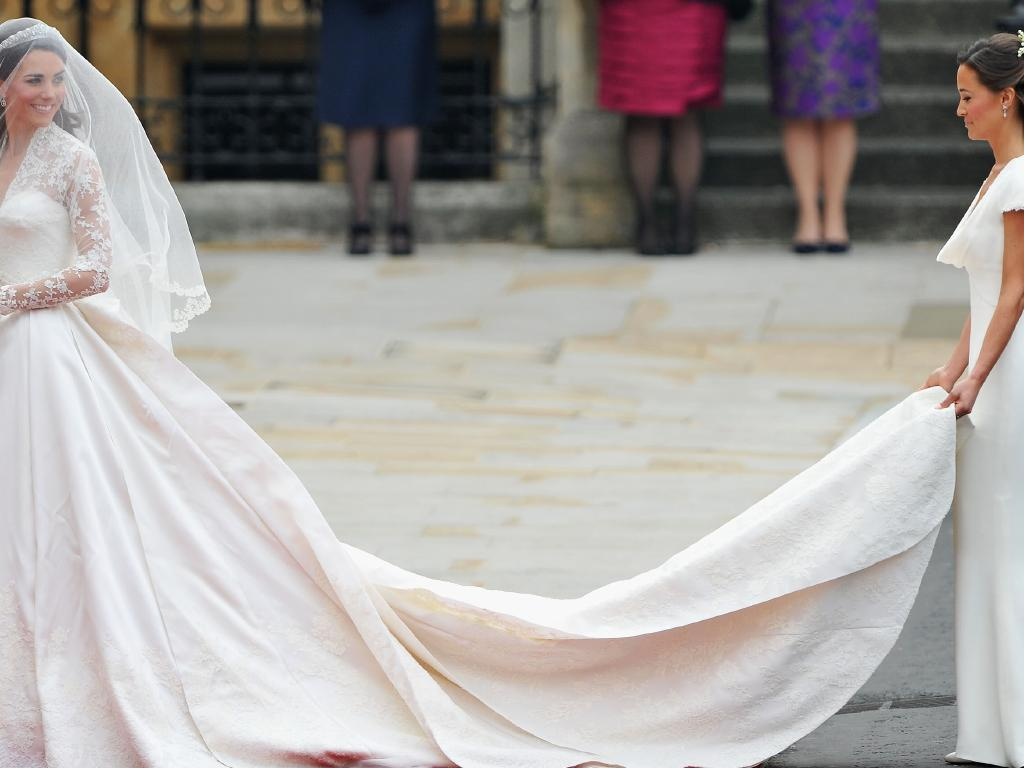 Catherine and Pippa Middleton on the Duchess of Cambridge's wedding day in 2011. Picture: Pascal Le Segretain/Getty Images