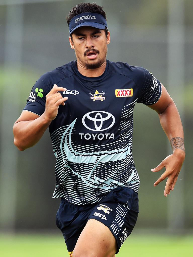 North Queensland Cowboys training from the Townsville Sports Reserve. Enari Tuala. Picture: Zak Simmonds