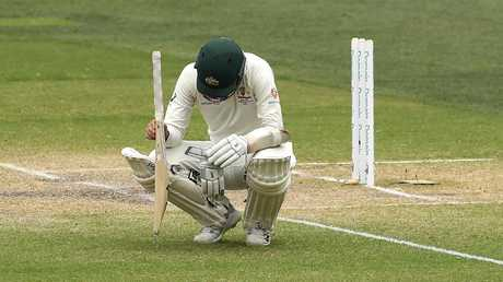 A dejected Nathan Lyon after the loss. Picture: Getty