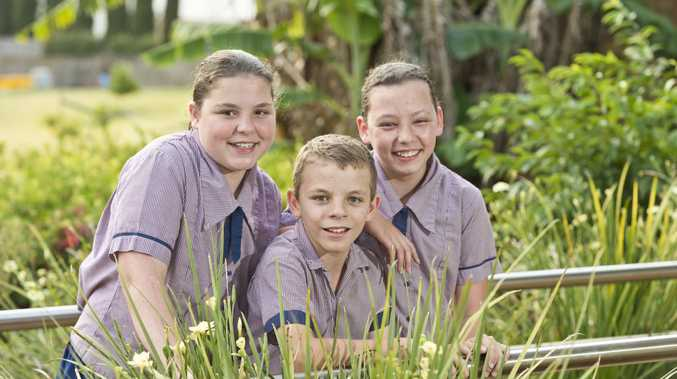 Triplets Hayley (left), Lachlan and Matilda Lombard are excited to finish Year 6 at Mary MacKillop Catholic College.