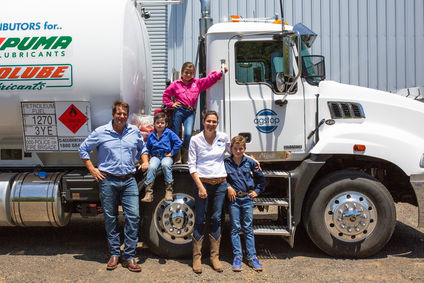 AGSTOP: One of rural Queensland's latest family run businesses, Agstop, created by Pete and Georgie Hart, with children, from left. Angus, Emily and Harry.