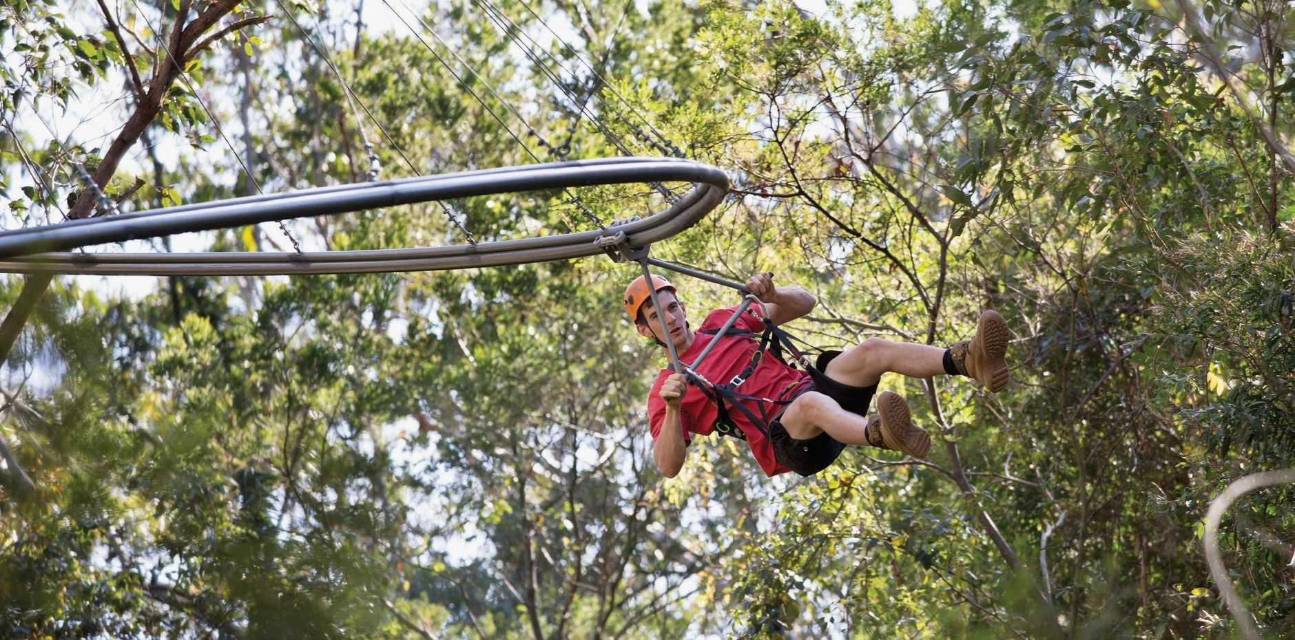 The type of zipline Rockhampton Regional Council have proposed for Mount Archer.  Photo Contributed