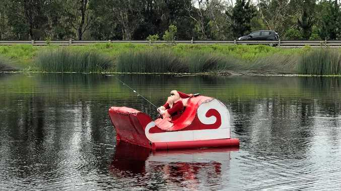 The floating fishing Santa and his sleigh has once more turned heads of passing motorists at Ewen Maddock Dam.