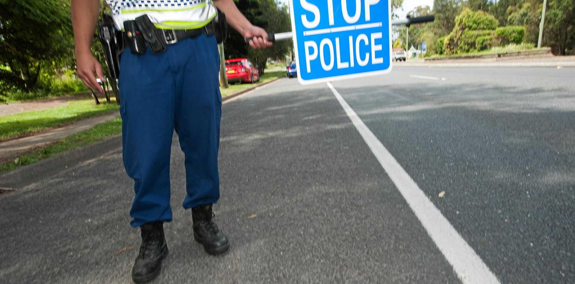 Police random breath test site in Coffs Harbour.