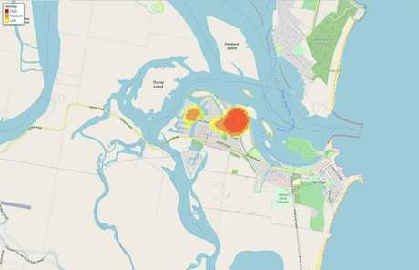 Hotspot map of reported thefts from motor vehicles in the Yamba area.
