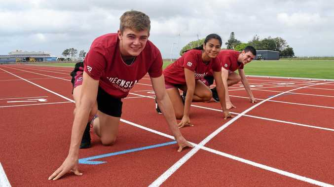 READY TO RUN: Dawson Harch, 16, Jasmine Peters, 16 and Oliver Bowater 13 coming home after racing at the 2018 Australian All Schools Championships in Cairns.