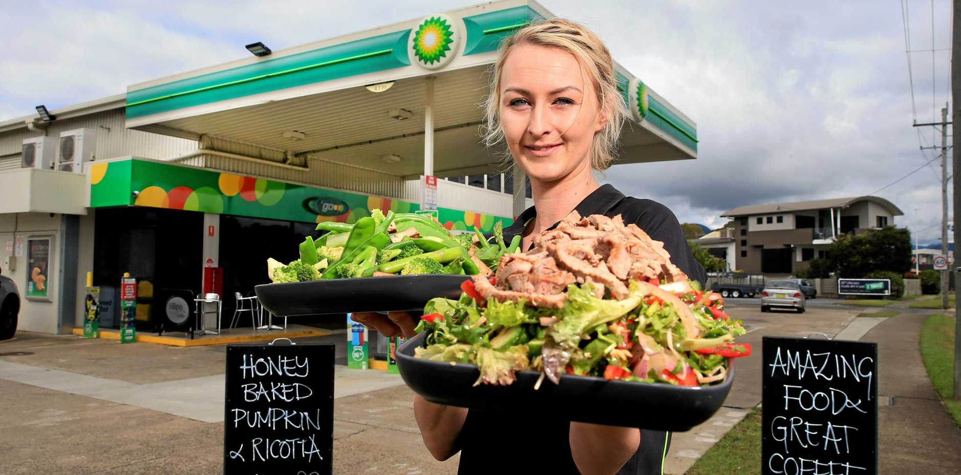 DIG IN: Renee Glover from BP Murwillumbah, is serving up fresh food for customers.