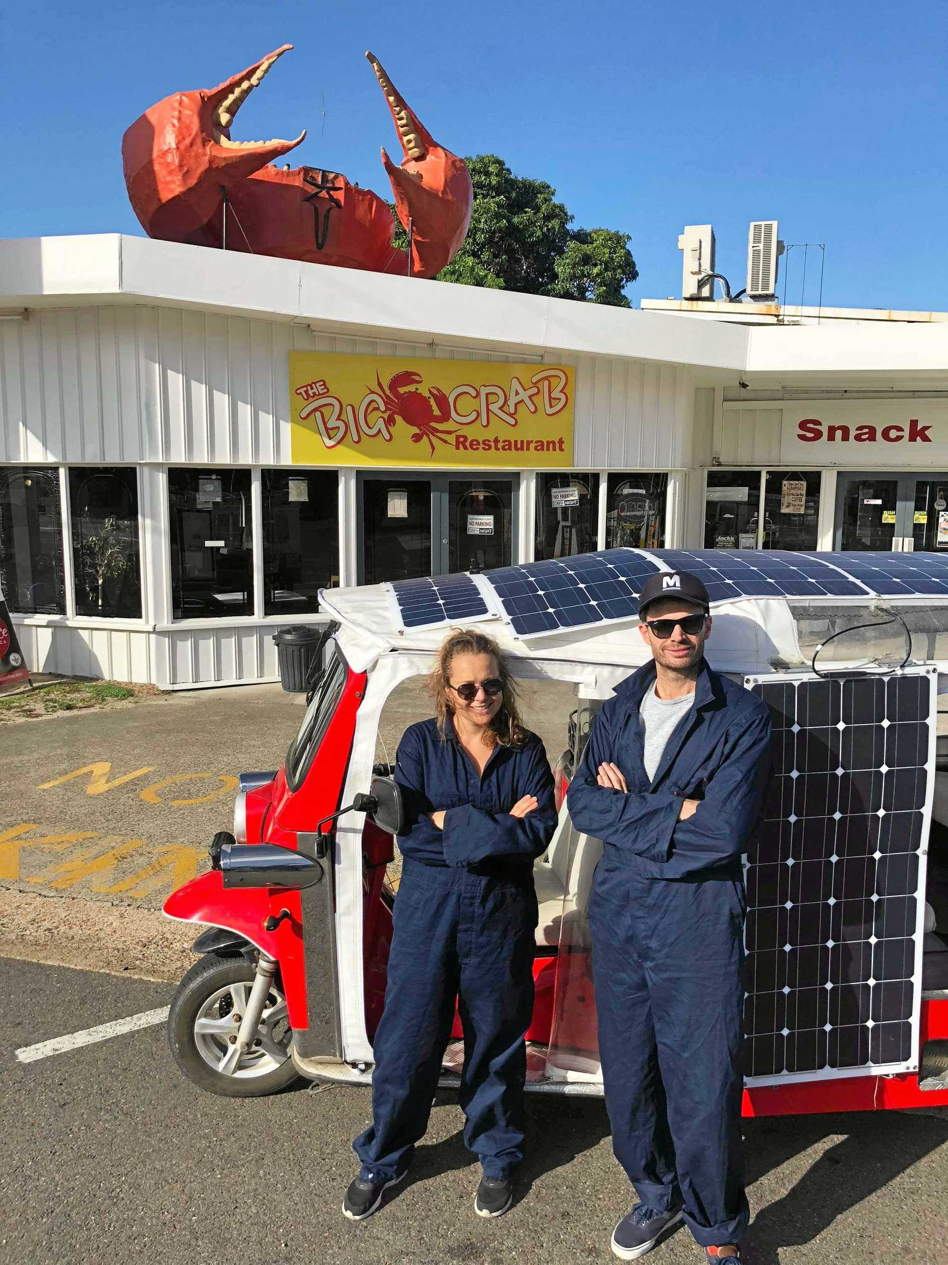 ROAD TRIP: Rebecca Watts and Matthew Edwards from the SolarTuk Expedition visited Miriam Vale today on a 3000km-plus journey from Melbourne to Cairns in a solar-powered tuk tuk.