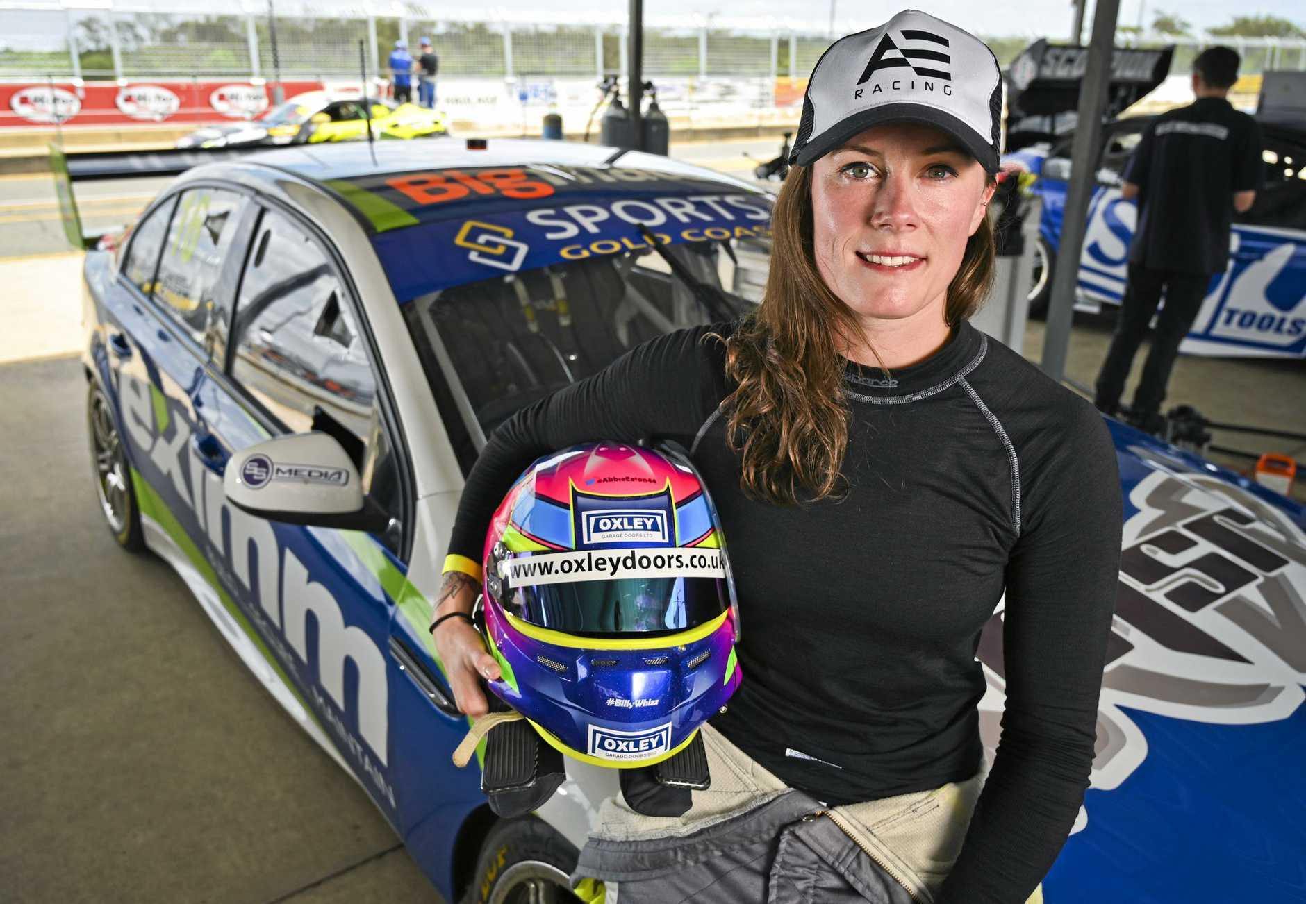 Grand Tour test driver Abbie Eaton visits Queensland Raceway to test a Supercar with Matt Stone Racing.