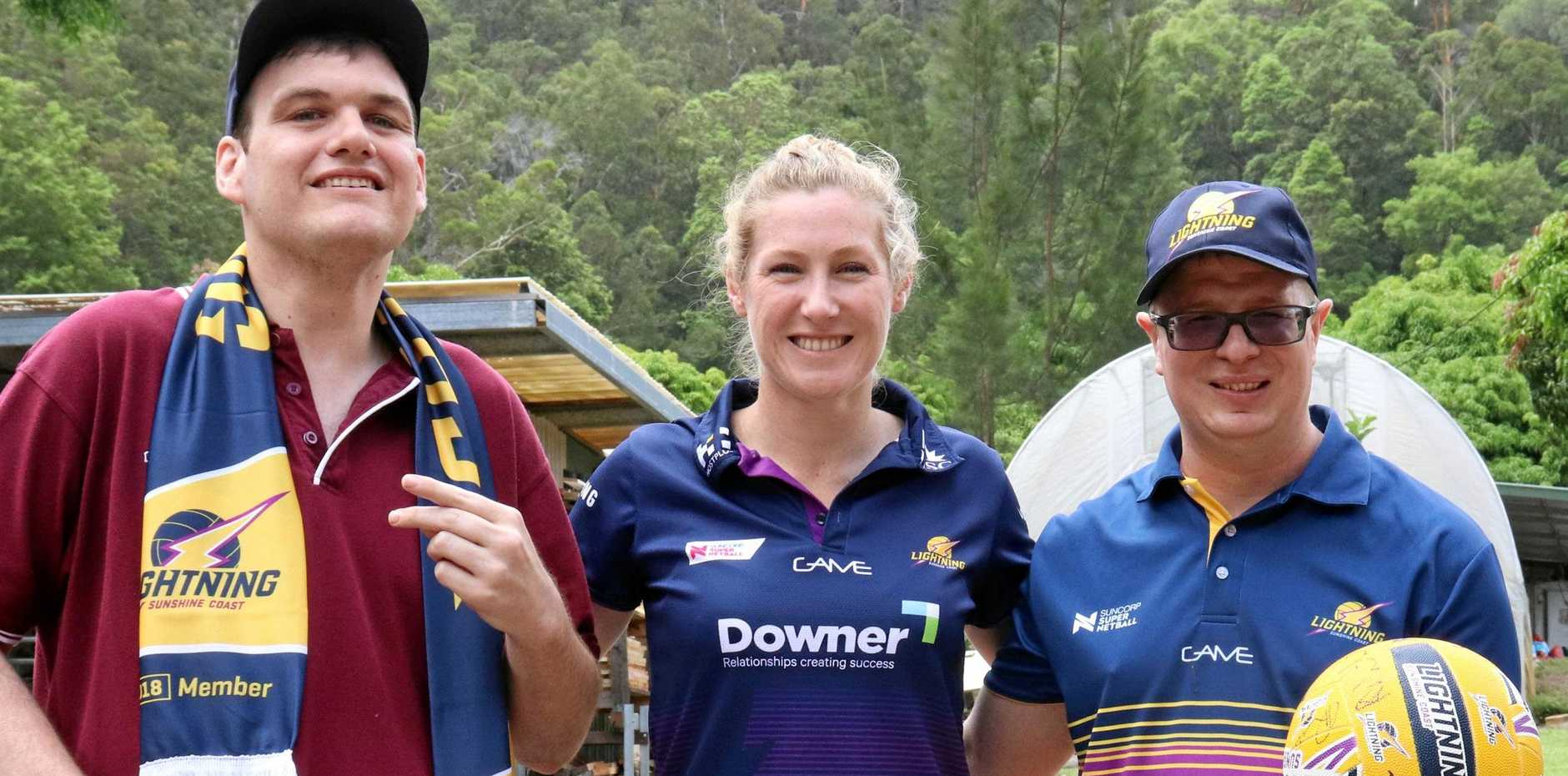 NEW PARTNERSHIP: (Left to right) Compass trainee Damien Stevens, Sunshine Coast Lightning player Jacqui Russell and Compass trainee and No.1 Lightning fan Glen Randell at the launch today.