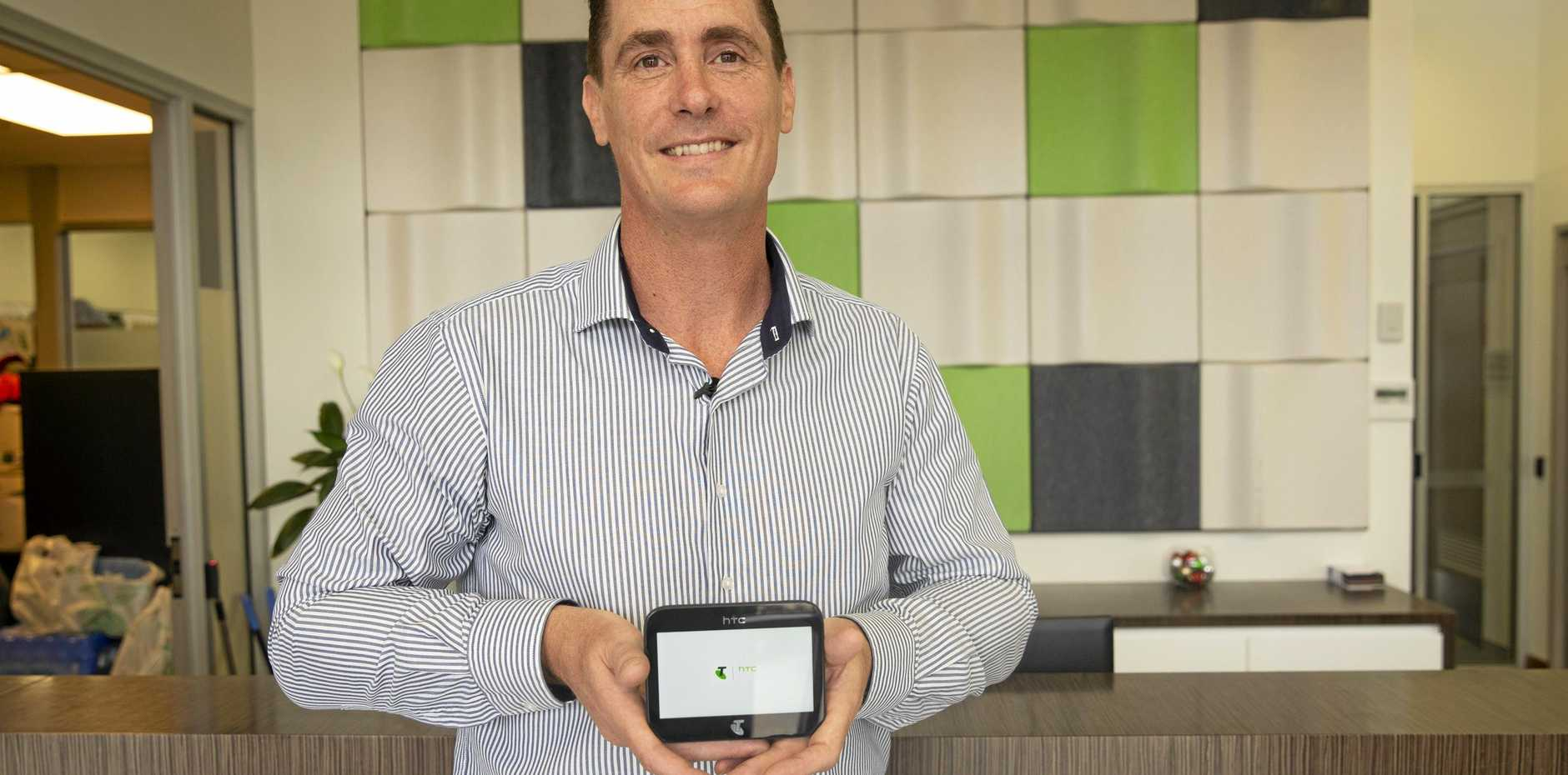 TECHNOLOGY: FKG Group CEO of Digital Innovation and Energy Grant Statton with the new 5G device.