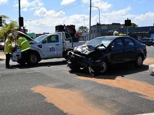 Two vehicle crash on Bourbong and Branyan Sts