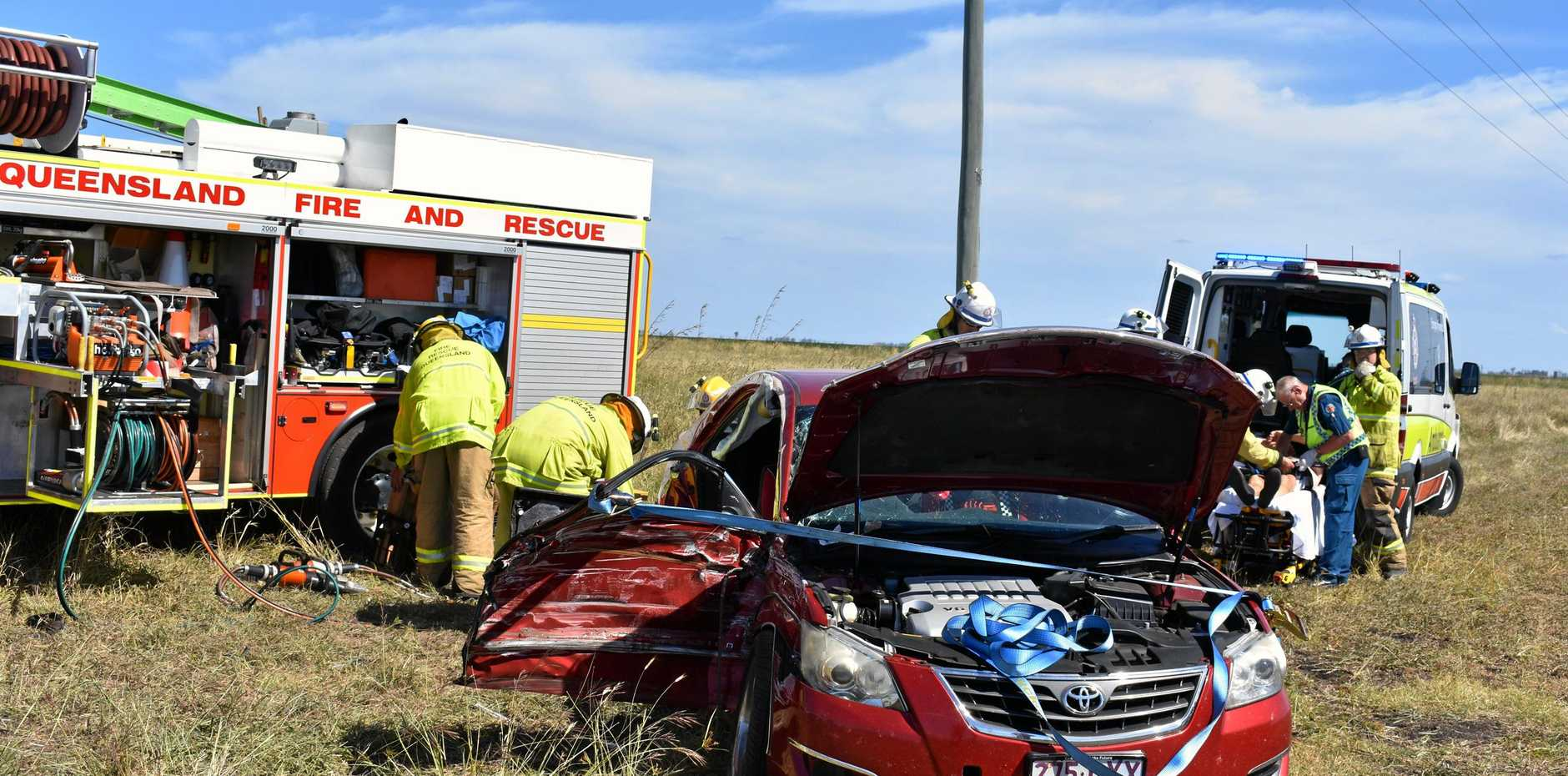 PIRRINUAN ACCIDENT: One man has been transferred to the Dalby Hospital following a two-vehicle collision at 2.20pm.