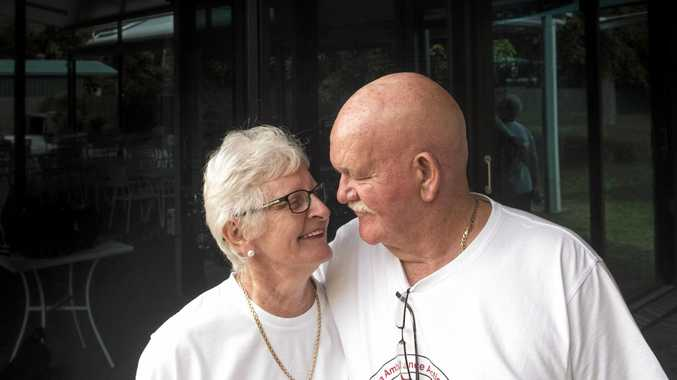 Ann and John McLean enjoy a quiet moment after they learned their campaign to get an ambulance station to Iluka had succeeded.