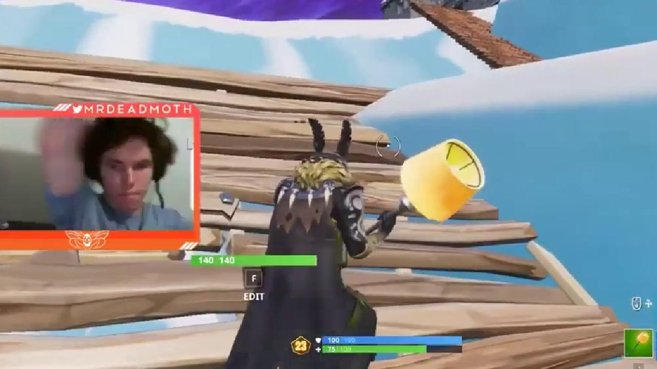 Gamer Luke James Munday playing Fortnite in the video that allegedly includes him hitting his partner.