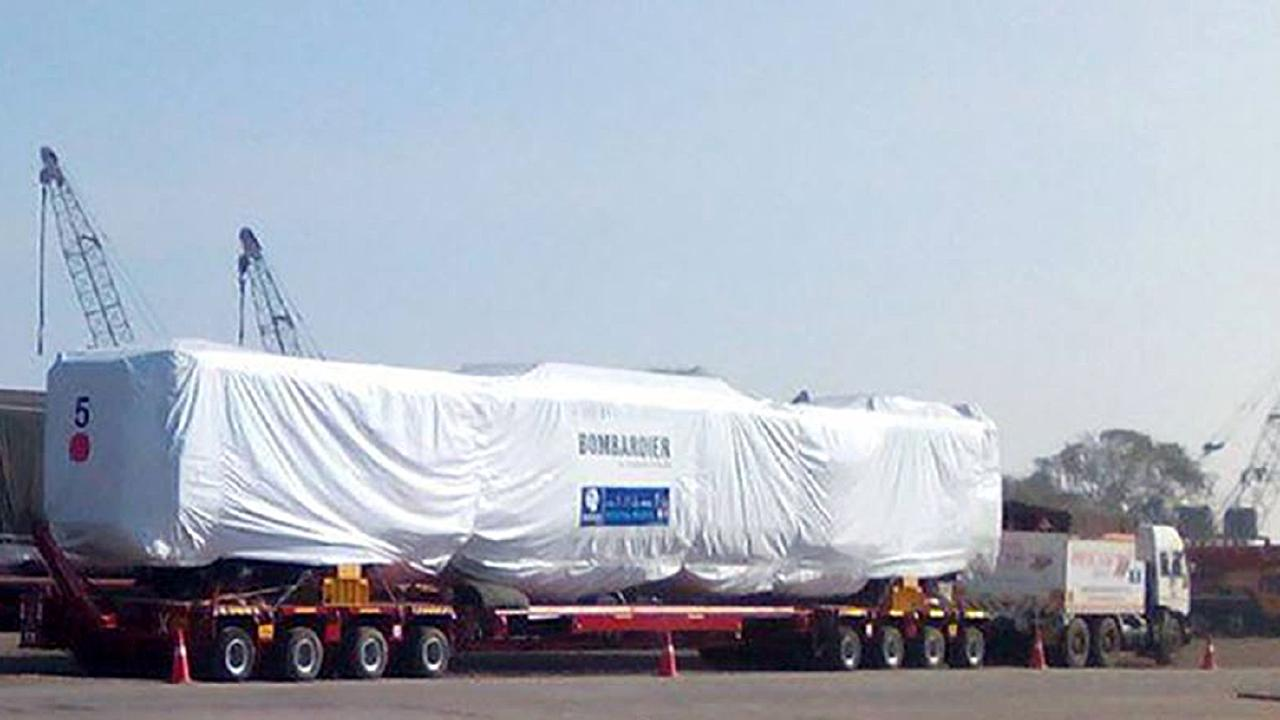An NGR train being shipped from Mumbai, India to Queensland (Photo: Mumbai Port Trust).