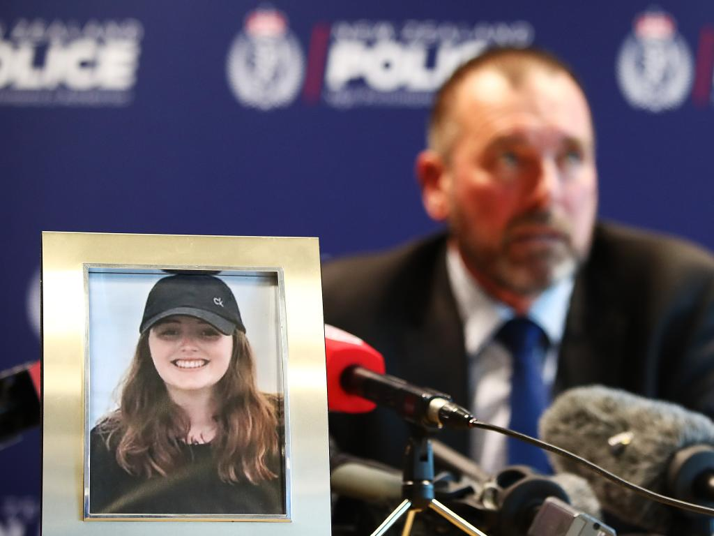 Detective Inspector Scott Beard speaks to the media on December 7 regarding the disappearance of Grace Millane. Picture: Hannah Peters