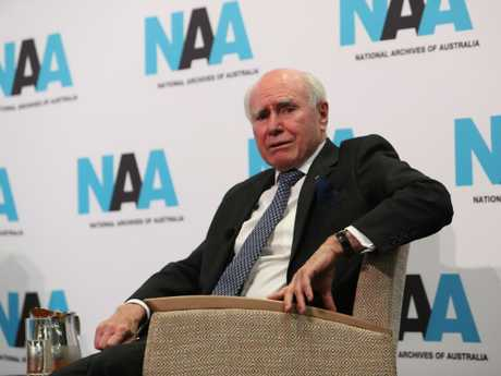 """Former PM John Howard speaking at the 1996 and 1997 Cabinet records release by the National Archives of Australia this morning. Picture"""" Kym Smith"""