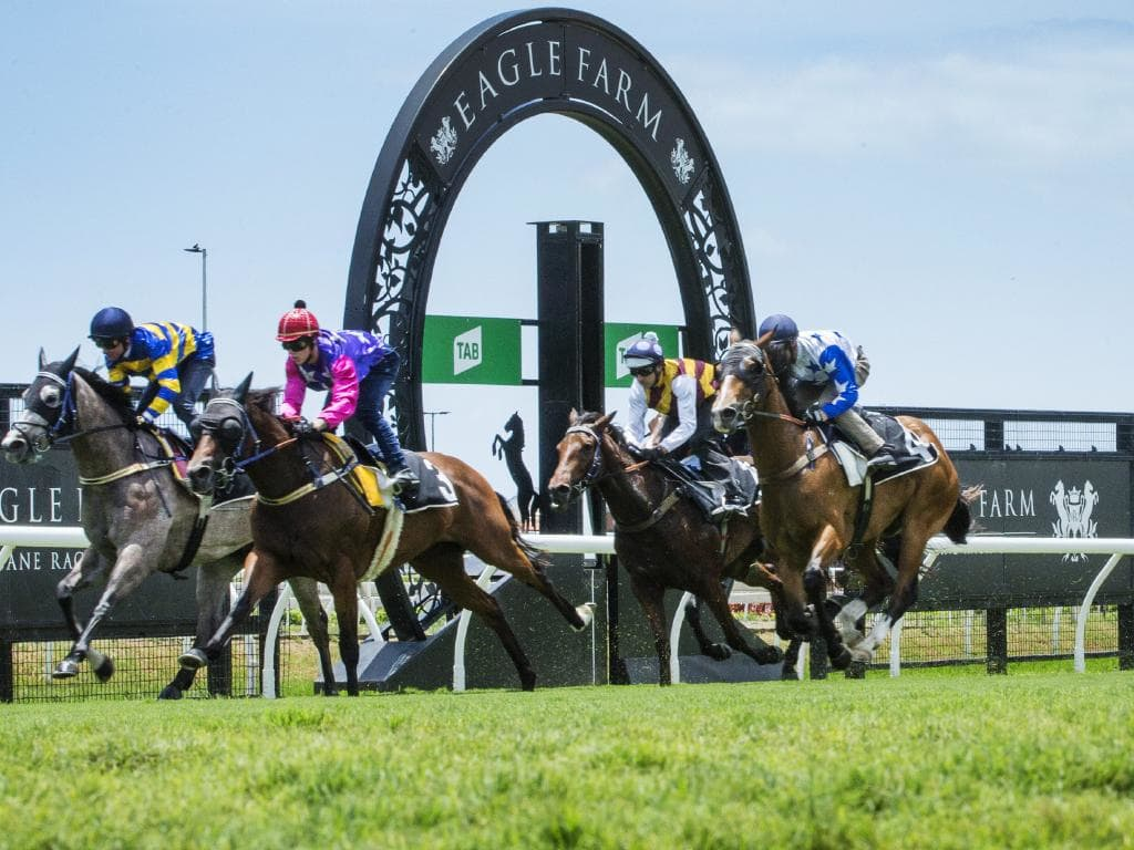 The new turf at Eagle Farm came through Monday's trials with glowing approval. Picture: Lachie Millard