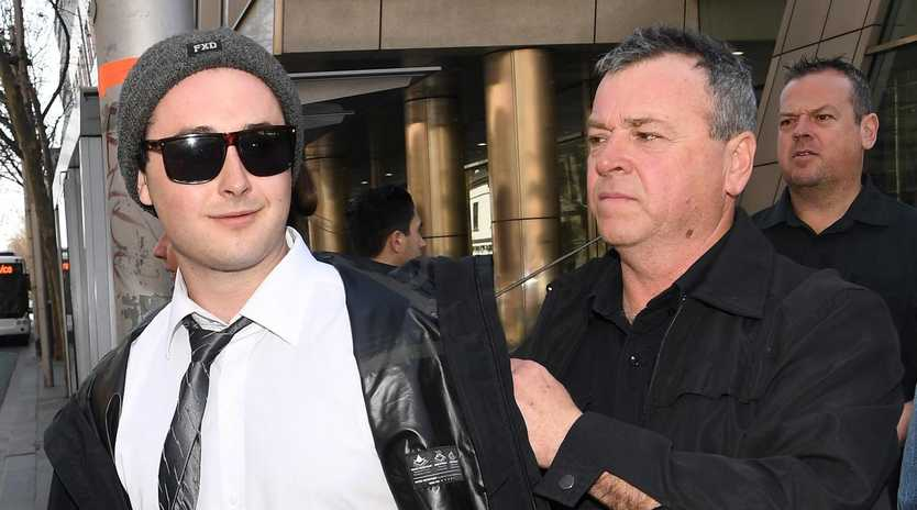 Brent Moresco (left) smiled while leaving the County Court in Melbourne in September. Picture: Julian Smith/AAP