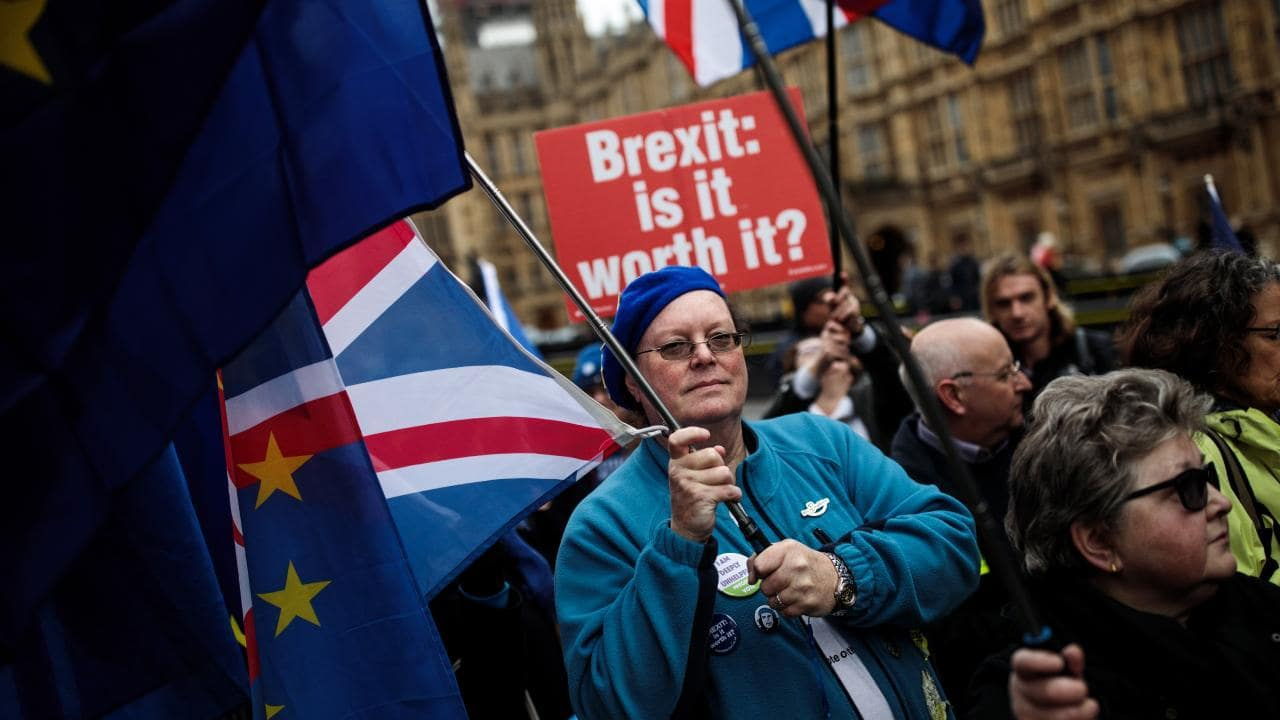 Anti Brexit protesters demonstrate with EU flags outside the Houses of Parliament, Westminster on Monday. Picture: Jack Taylor/Getty Images