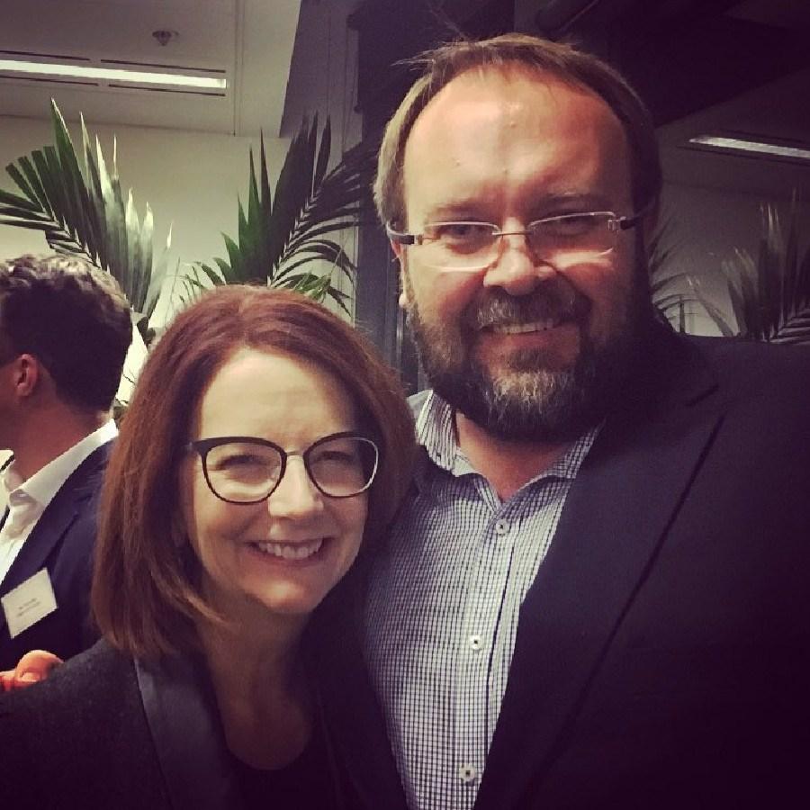 Former PM Julia Gillard with Labor staffer and campaigner Darrin Barnett.