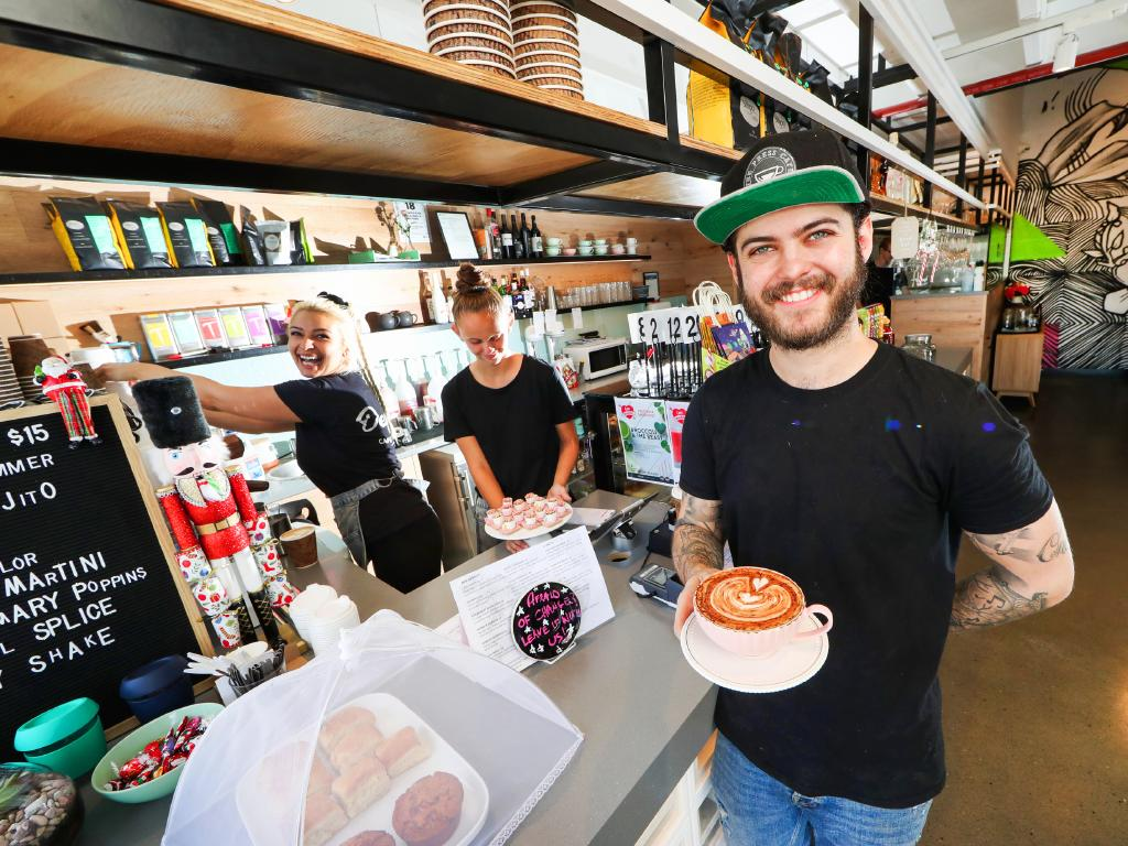 Cafe owner Damien Jacquelin at his Depot Cafe & Lounge has seen the Coomera area explode in the past six years and said the local infrastructure and services are keeping up with the boom. Picture: Nigel Hallett