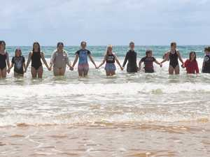 In the water. Kids from the drought ridden areas of