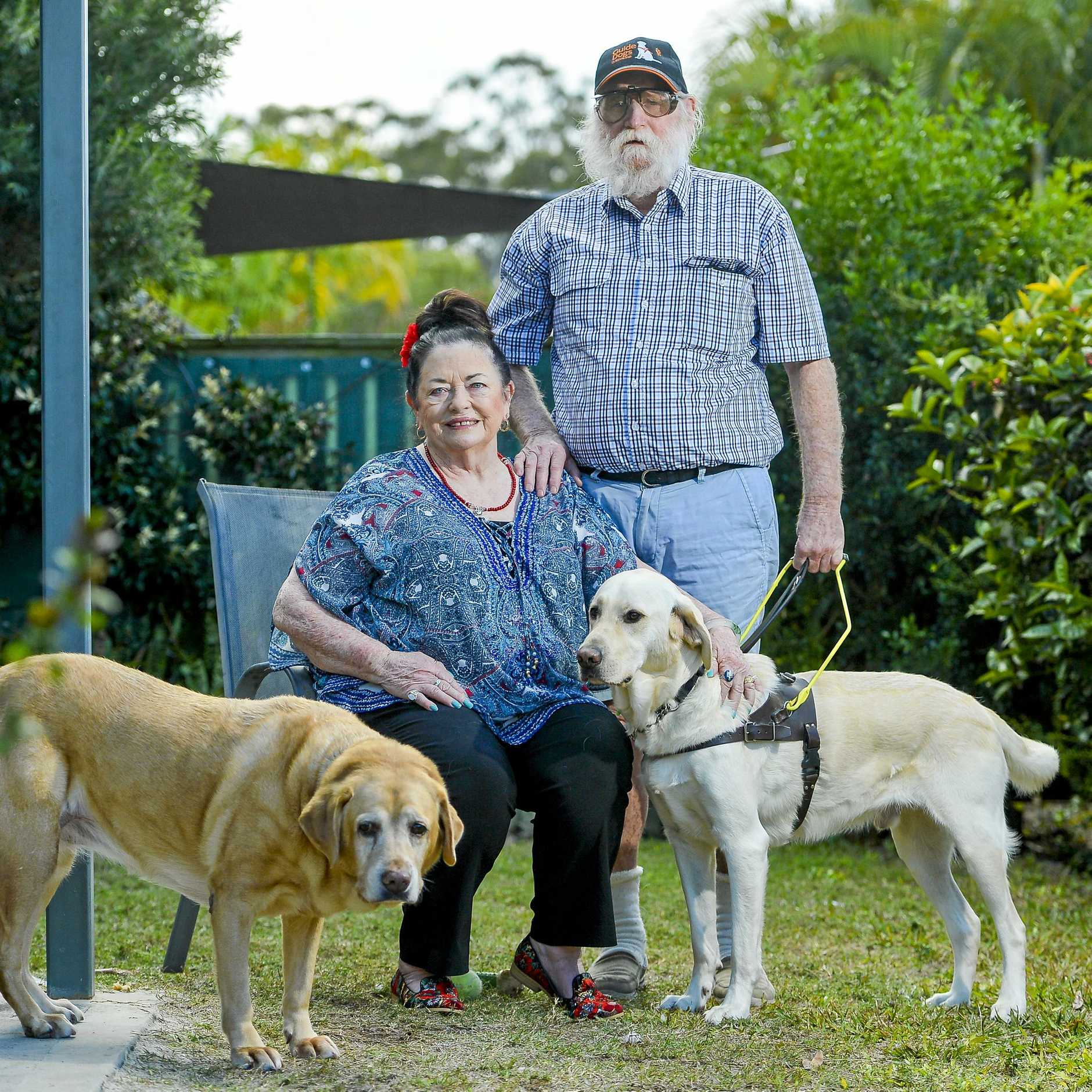 Gladstone woman Sandra Strutton is a long-term donor to the Guide Dogs. Pictured with her is guide dog Trevor, 2, retired guide dog Queeny, 11 and owner Dave Byars.