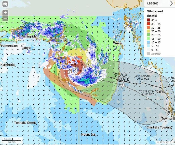 UNPREDICTABLE: Tropical Cyclone Owen is located northwest of Mornington Island. It is expected to be slow moving during Wednesday and then change course to move eastwards and back towards the Queensland coast on Thursday.