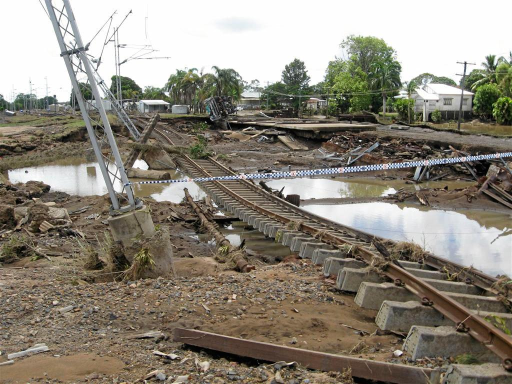 OFF LINE: The 2013 floods have caused significant damage to the railway infrastructure in North Bundaberg.  Photo: Barry Linwood