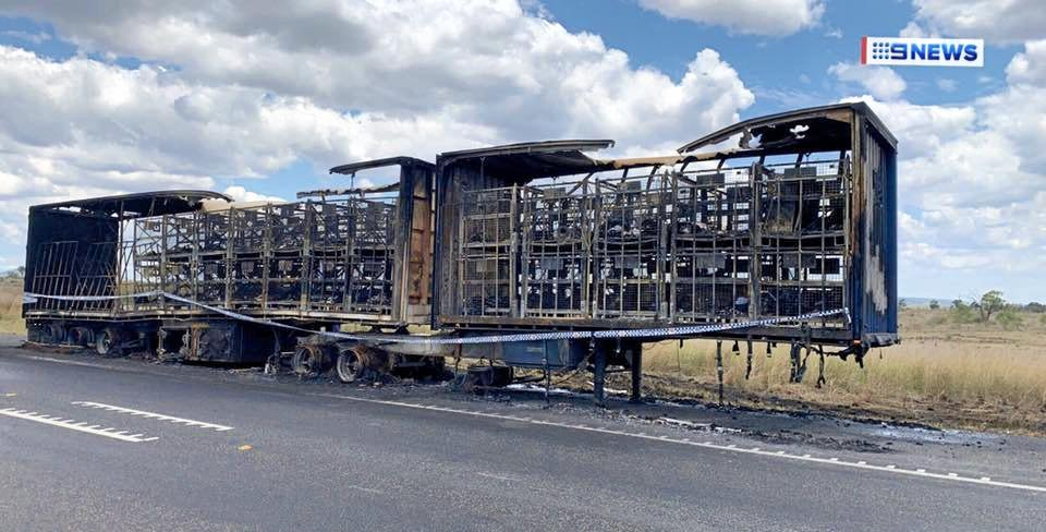 BURNT GOODS: The remains of an Australia Post semi-trailer after it caught alight on the Capricorn Hwy. INSET: Ora Glover, has lost her ring in the fire.