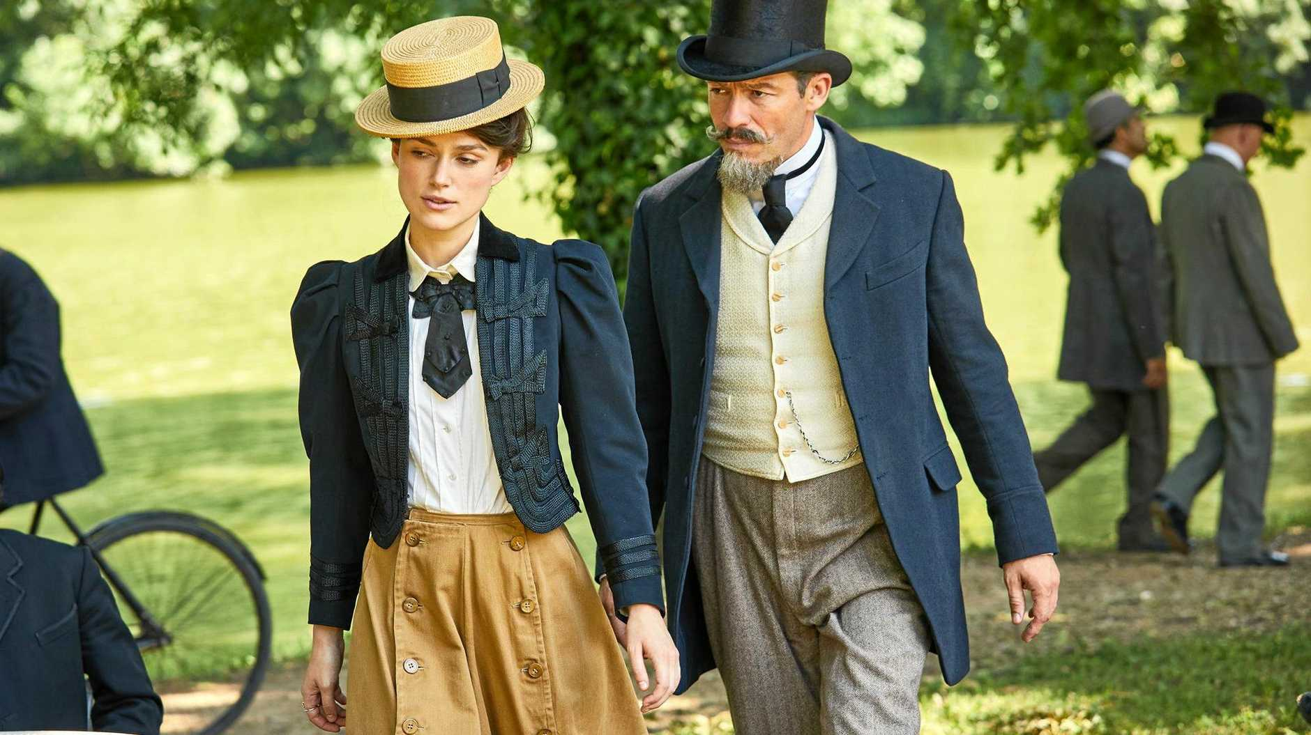 Keira Knightley and Dominic West in a scene from the movie Colette.