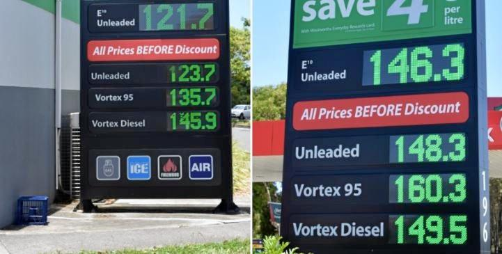 There was a marked difference in fuel prices between Caltex Woolworths Sippy Downs (left) and Caltex Woolworths Warana on Wednesday.