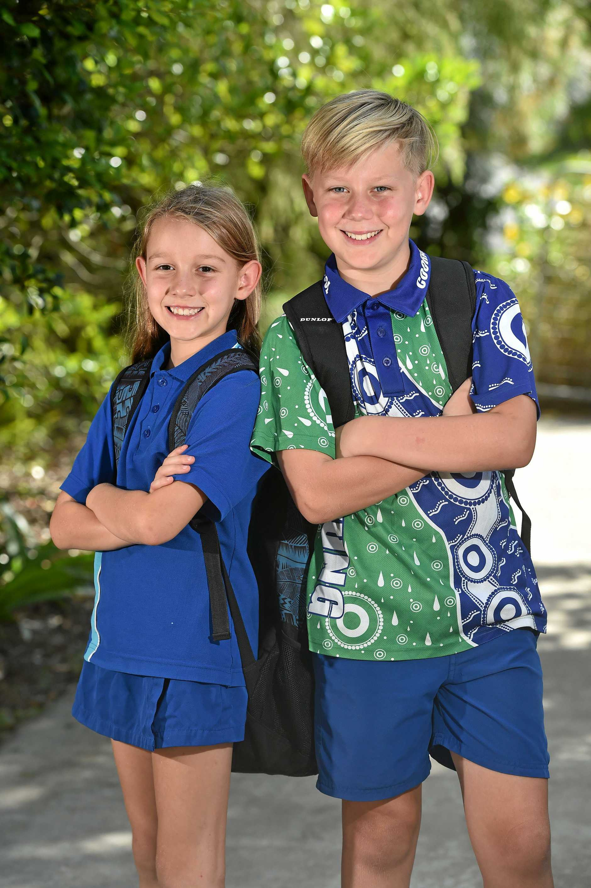 Cooran State School students Bailey Doran, 11, and Sienna Doran, 8, have some of the school's best attendance records.