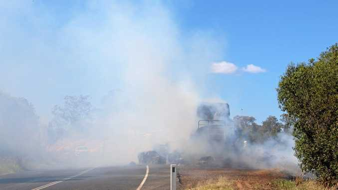 Hay bale fire on Bunya Highway north of Bell