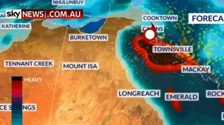 Cyclone Owen has re-intensified into a category one storm. Picture: Sky News Weather