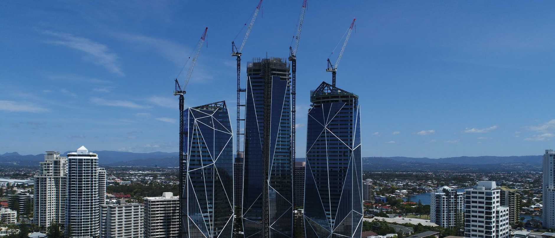 The Jewel triple towers have topped out but interior work remains and retenders of parts of the original main Multiplex contract are required to finish the ambitious $1.4 billion project. Picture: Glenn Hampson