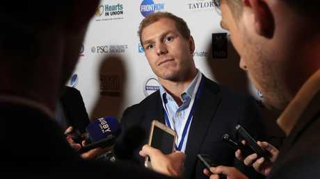 Pocock talks to the media after winning The RUPA Medal of Excellence. (Mark Evans/Getty Images)